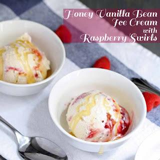 Honey Vanilla Bean Ice Cream with Raspberry Swirls