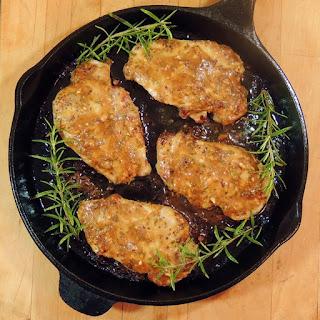 Honey Mustard Pork Chops with Rosemary and Garlic.