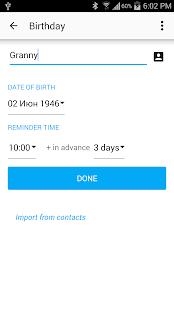 BZ Reminder & Birthdays - screenshot thumbnail