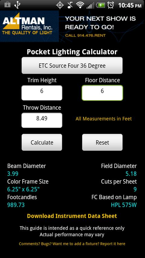 Stage Lighting Beam Calculator - screenshot