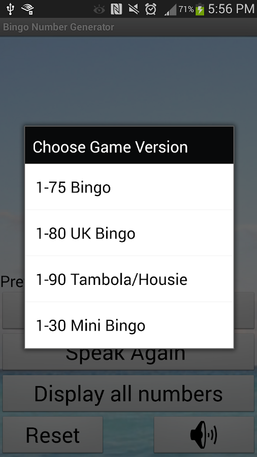 Bingo Number Generator- screenshot