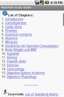 Screenshot of Nutrition Study Guide