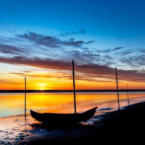 Sunset at Lagoon by Paulo Veiga - Landscapes Sunsets & Sunrises ( clouds, water, lagoon, wood, 2014, paulo veiga, pixoto, ribeiro da moita, reflections, boat, photography, sky, stakes, ria de aveiro, reflections on water, silhouettes, esteiro da moita,  )
