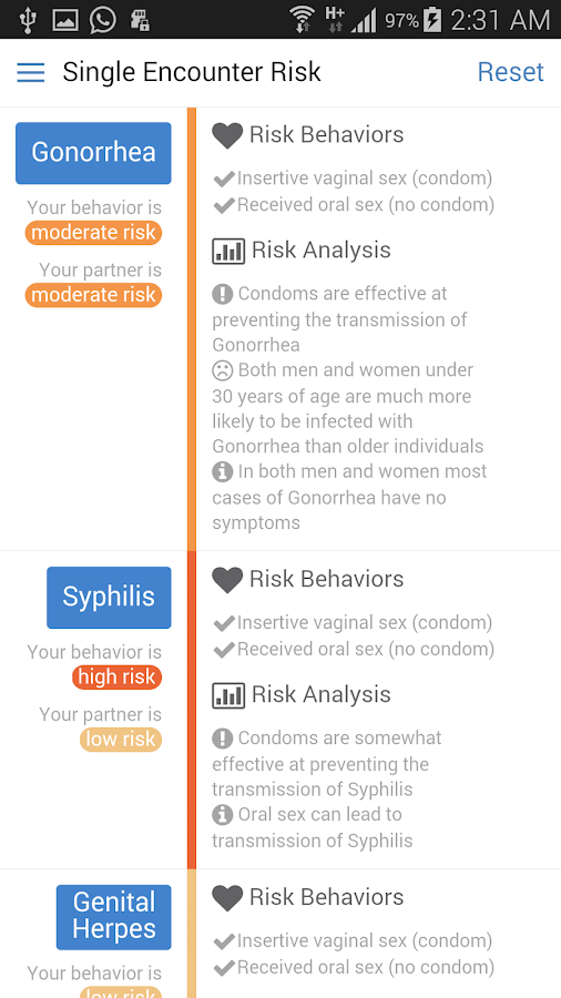 STD Risk Calculator - screenshot