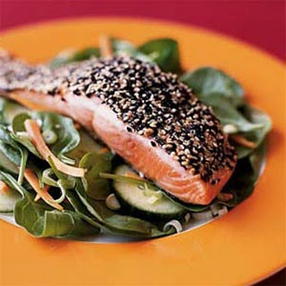 Wilted Spinach Salad with Sesame-Coated Salmon