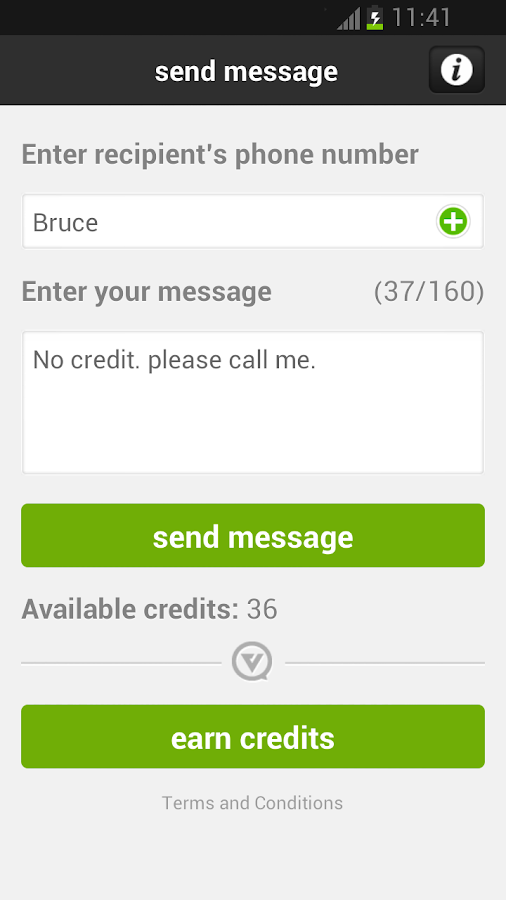 ViperText: Out of Credit SMS - screenshot