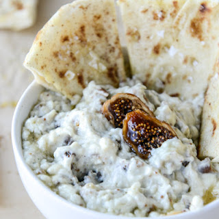 Warm Honey Fig Dip with Blue Cheese and Garlic Pitas.