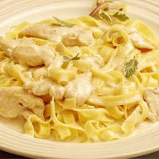 Chicken Alfredo with Fettuccini Noodles.