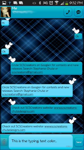 GO SMS - Blue Plaid 3