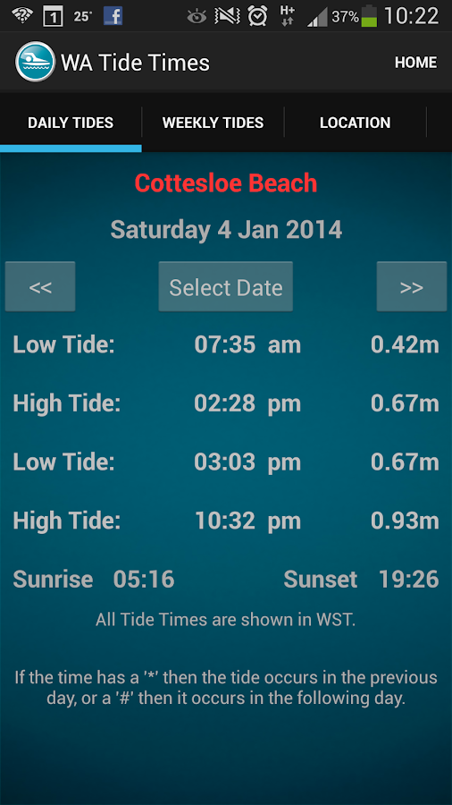 WA Tide Times - screenshot