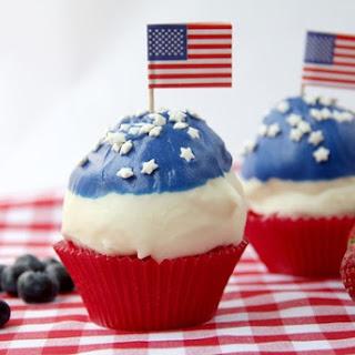 Berries & Cream Patriotic Dipped Cupcakes