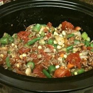 Slow Cooker Veggie-Beef Soup with Okra.