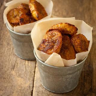 Caribbean-spiced Crispy Baked Plantain Chips.