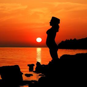yoga by Darko Kovac - People Maternity ( , landscape, beach, silhouette )