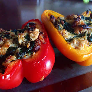 Chicken Stuffed Peppers with Spinach and Sun Dried Tomatoes.