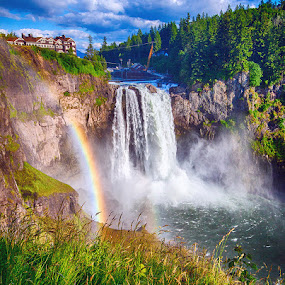 Snoqualmie Falls by Rachaelle Larsen - Landscapes Waterscapes ( washington, waterfall, ranbow, snoqualmie falls, powerplant )