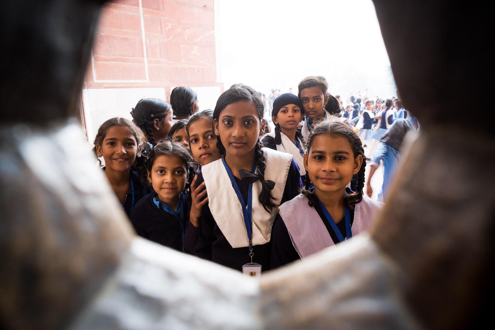 School Group through Jali Window, Delhi, India
