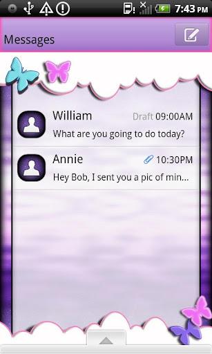 GO SMS THEME ButterflysRFree1