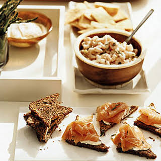 Herbed Bay Shrimp with Rye Crackers.