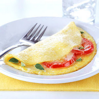 Fresh Tomato Omelets with Mozzarella Cheese.