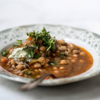 Spicy Chickpea and Bulgur Soup.