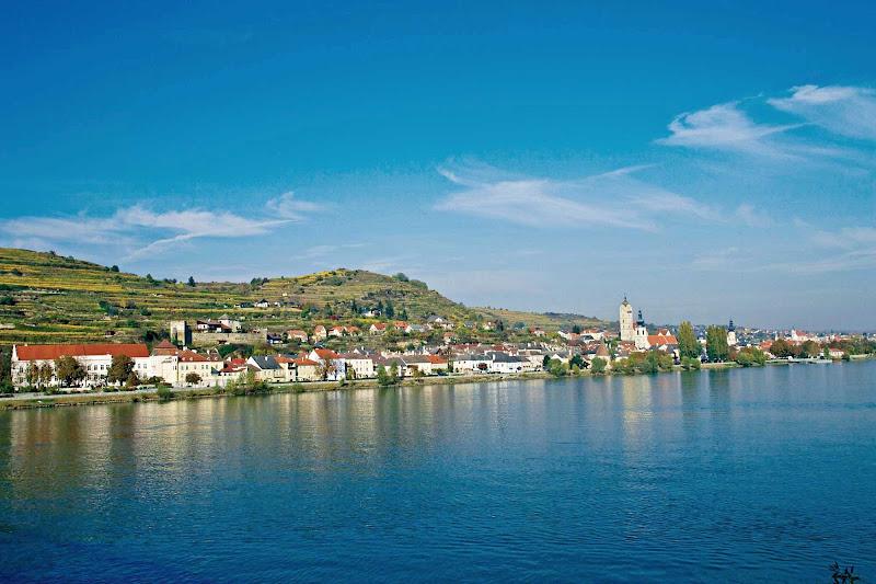The waterfront of Stein an der Donau (Stein on the Danube), near Krems in the Wachau Valley of Austria.