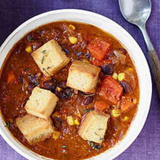 Smoky Black Bean Chili with Corn Bread Croutons.