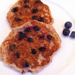 Whole Wheat Blueberry Oatmeal Pancakes.