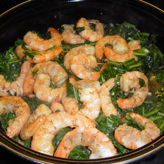 Shrimp with Dandelion Greens