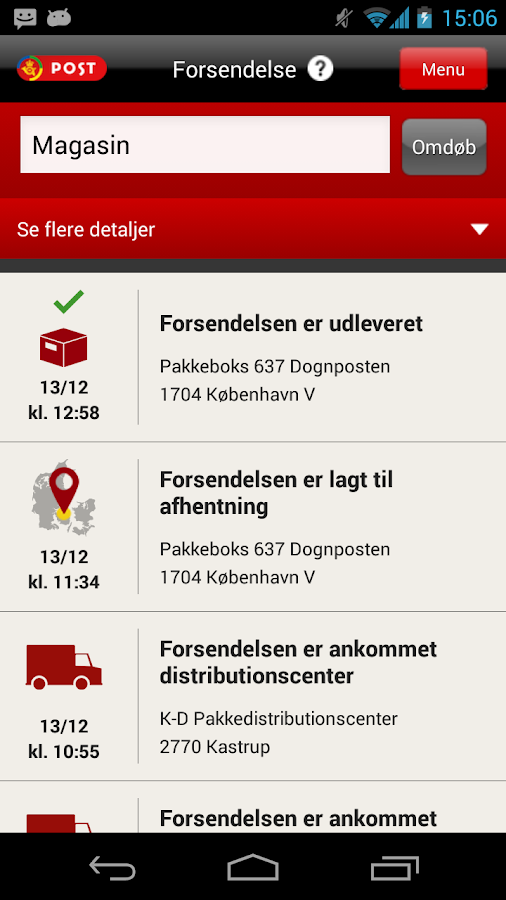 Post Danmark - screenshot