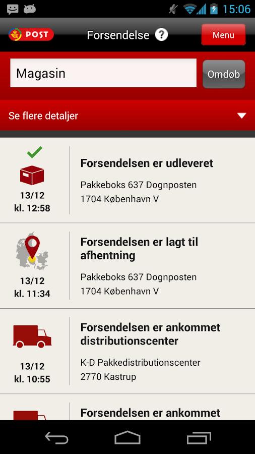 Post Danmark- screenshot