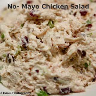 No Mayo Chicken Salad with Cranberries and Walnuts.