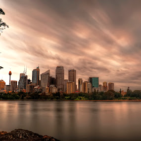 Sunset of Sydney by Michael Lucchese - Landscapes Sunsets & Sunrises ( clouds, water, sydney harbour, waterscape, australia, sydney city, long exposure, synset, landscape, sydney )