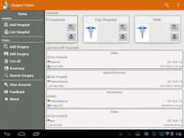 Screenshot of Surgery Tracker