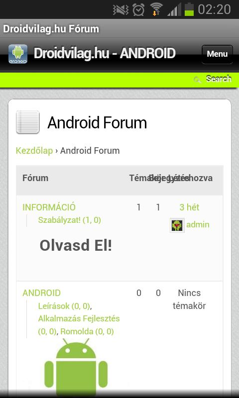 Android forum hungary - screenshot