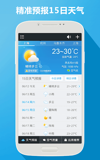 天氣氣象預報 臺風預警 空氣質量 穿衣指數小工具