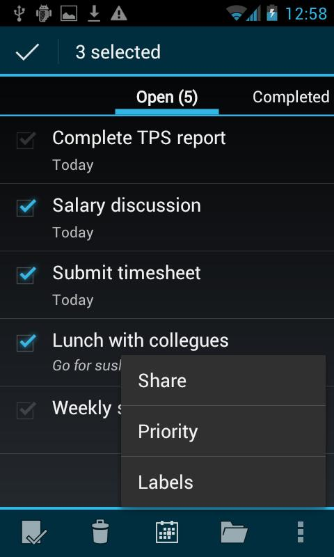 BHive Google Tasks - screenshot