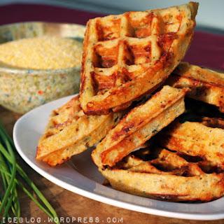 Cheddar Chive Polenta Waffles