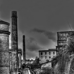 Rail by Jim Moran - Landscapes Weather ( roof, mill, sky, rail, stacks., light, wall )