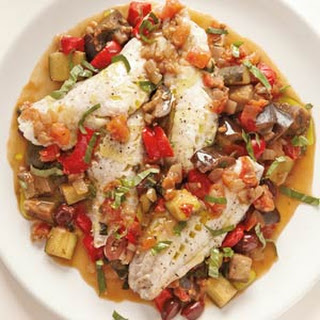 Steamed Fish with Ratatouille.