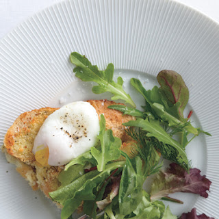 Savory Parmesan Pain Perdu with Poached Eggs and Greens Recipe