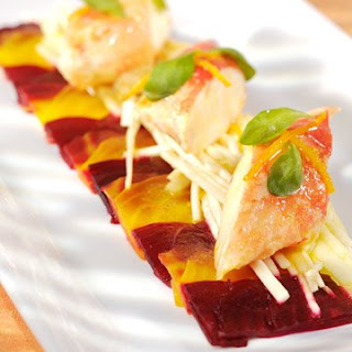 King Crab with Celeriac, Apple, and Beet Salad.