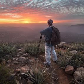 Self Portrait atop Viejas Mountain by Cliff LaPlant - People Portraits of Men ( alpine; california; viejas; viejas mountain; san diego; self portrait; sun; sunset; hiking; explore; trekking; outdoors,  )