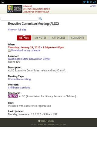 2013 ALA Midwinter Meeting - screenshot