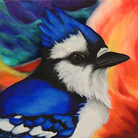 Blue Jay by Veronica Blazewicz - Painting All Painting ( bird, colorful, avian, art, original, jay, blue jay, painting, artwork )