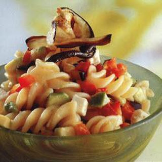 Roasted Aubergine, Red Pepper And Feta Pasta Salad