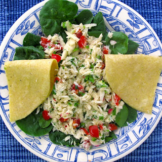 Crab Salad with Radishes, Jicama, and Jalapenos.
