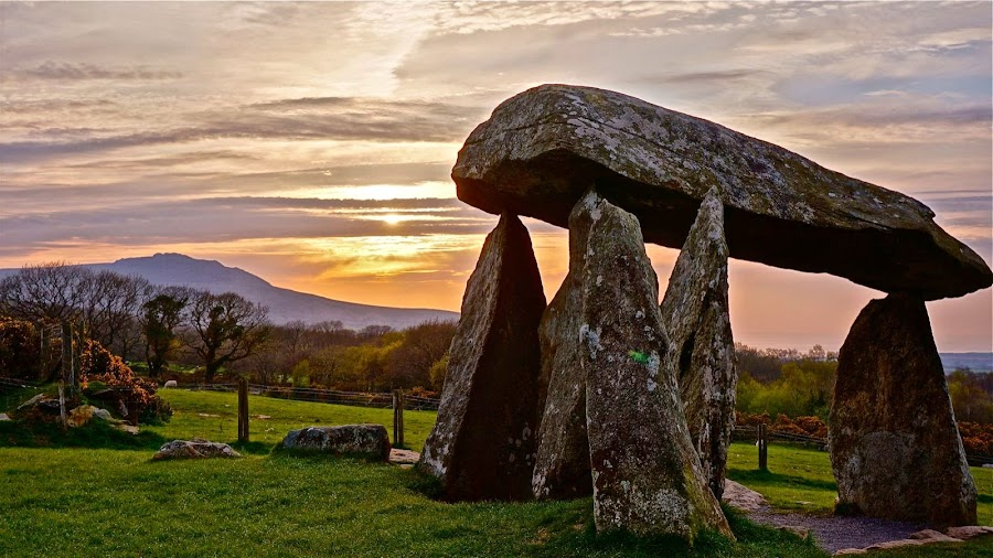 by Stephen Baker - Buildings & Architecture Public & Historical ( tomb, ancient, wales, sunset, grave, monument, stones,  )