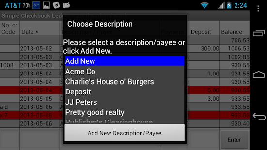simple checkbook ledger app