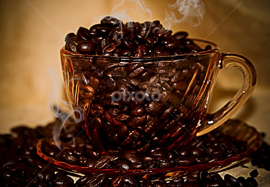 Steaming Hot by Susan Farris - Food & Drink Ingredients ( cup, pwc, saucer, pwccoffee, beans, coffee, drink, java, pink, ingredient, roasted,  )